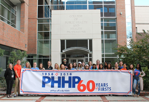 Current students at the UF College of Public Health and Health Professions helped celebrate the 60th anniversary of the college, the first college of health professions located within an academic health center.