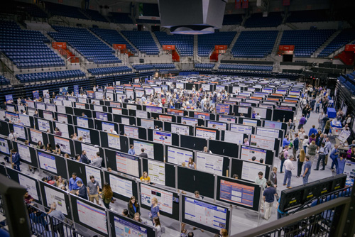 More than 1,000 people gathered in the Stephen C. O'Connell Center for the UF College of Medicine's annual Celebration of Research poster session, which featured more than 500 posters.