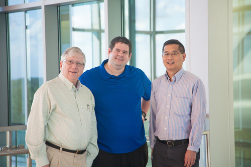 George Drusano, M.D., the director of UF's Institute for Therapeutic Innovation at Lake Nona, at left, joins Jürgen Bulitta, Ph.D., an associate professor of pharmaceutics in the UF College of Pharmacy, and Arnold Louie, M.D., a co-director of UF's Institute for Therapeutic Innovation at Lake Nona.