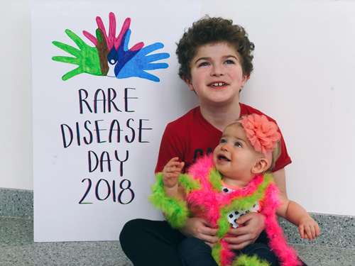 Kingston and Ariyah Orvis, of Manitoba, Canada, traveled to the UF Clinical and Translational Research Building to help faculty, staff and students celebrate Rare Disease Day.
