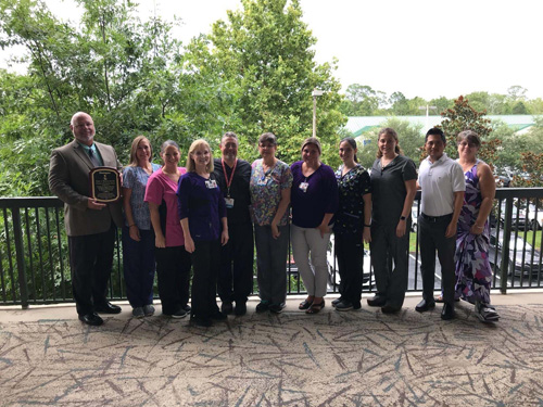 The UF Health Wound Care and Hyperbaric Center in Magnolia Park was awarded a Center of Distinction by Healogics™. The award is presented in recognition of excellent healing outcomes, high patient satisfaction rates and outstanding clinical performances.