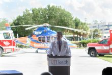 David R. Nelson, M.D., interim senior vice president for health affairs at UF and president of UF Health, announces the arrival in Alachua County of the smartphone app PulsePoint.