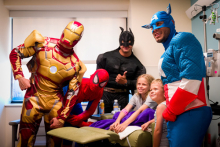 Superheroes descend on UF Health Shands Children's Hospital to brighten the day for patients.