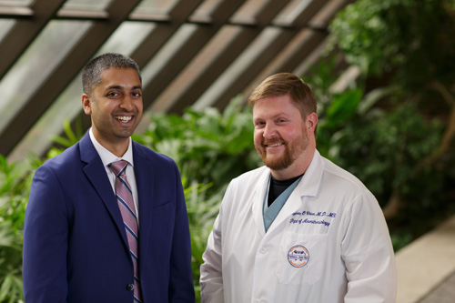 Ajay Antony, M.D., left, and Stephen Vose, M.D., lead a collaborative at UF Health that aims to provide pain treatment for end-of-life patients and those with unbearable pain.