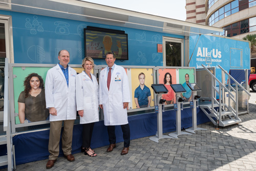 The Journey Bus, part of the nationwide All of Us initiative to get 1 million people into a databank of health records, visited UF Health. UF is part of the consortium that is leading the drive.