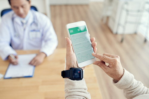 Senior Patient Checking Heart Rate