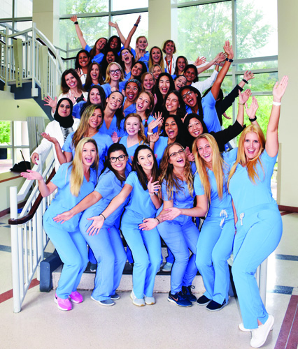 The UF College of Dentistry student chapter of the American Association of Women Dentists celebrate after being named the 2019 Chapter of the Year. One of the most active organizations in the college, the chapter hosted more than 30 community service and social events last school year.