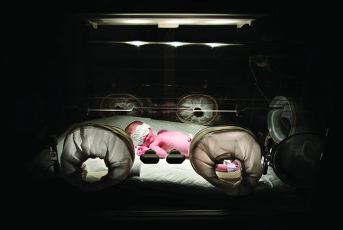 newborn in the incubator of the hospital.