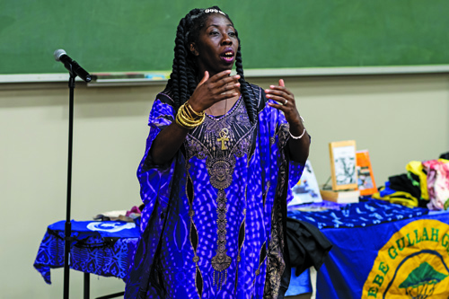 Author, lecturer, artist and activist Queen Quet Marquetta L. Goodwine, chieftess of the Gullah/Geechee Nation, wove songs and personal stories into her talk as part of the UF College of Public Health and Health Professions' Dean's Scholar Lecture series.