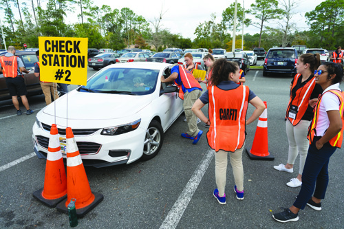"Occupational therapy students at the UF College of Public Health and Health Professions demonstrated driver safety during the annual CarFit program, designed to ensure the safest ""fit'' for older drivers and their vehicles."