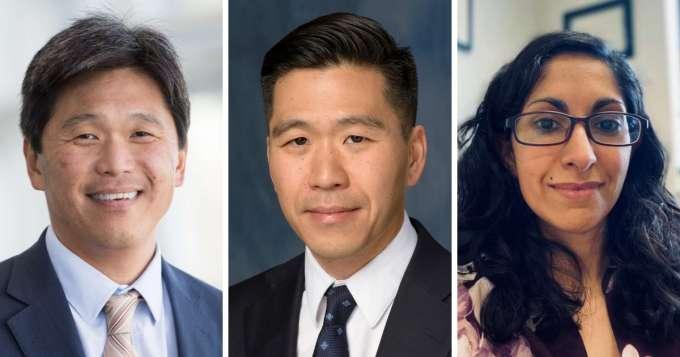 From left, UF Health neurosurgeons Brian Hoh, M.D.; Daniel Hoh, M.D.; and Maryam Rahman, M.D.
